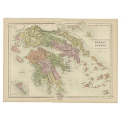Antique Map of Greece and Ionian Islands by A & C. Black, 1870