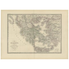 Antique Map of Greece and the Greek islands by Lapie, 1842