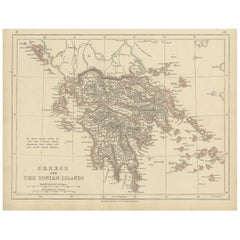 Antique Map of Greece and the Ionian Islands by Lowry, '1852'