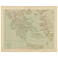 Antique Map of Greece and the Mediterranean by Hachette & Cie, '1896'