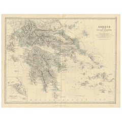Antique Map of Greece by A.K. Johnston, 1865