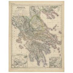 Antique Map of Greece by H. Kiepert, circa 1870