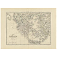 Antique Map of Greece by Lapie, 1842