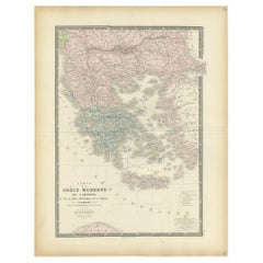 Antique Map of Greece by Levasseur, '1875'
