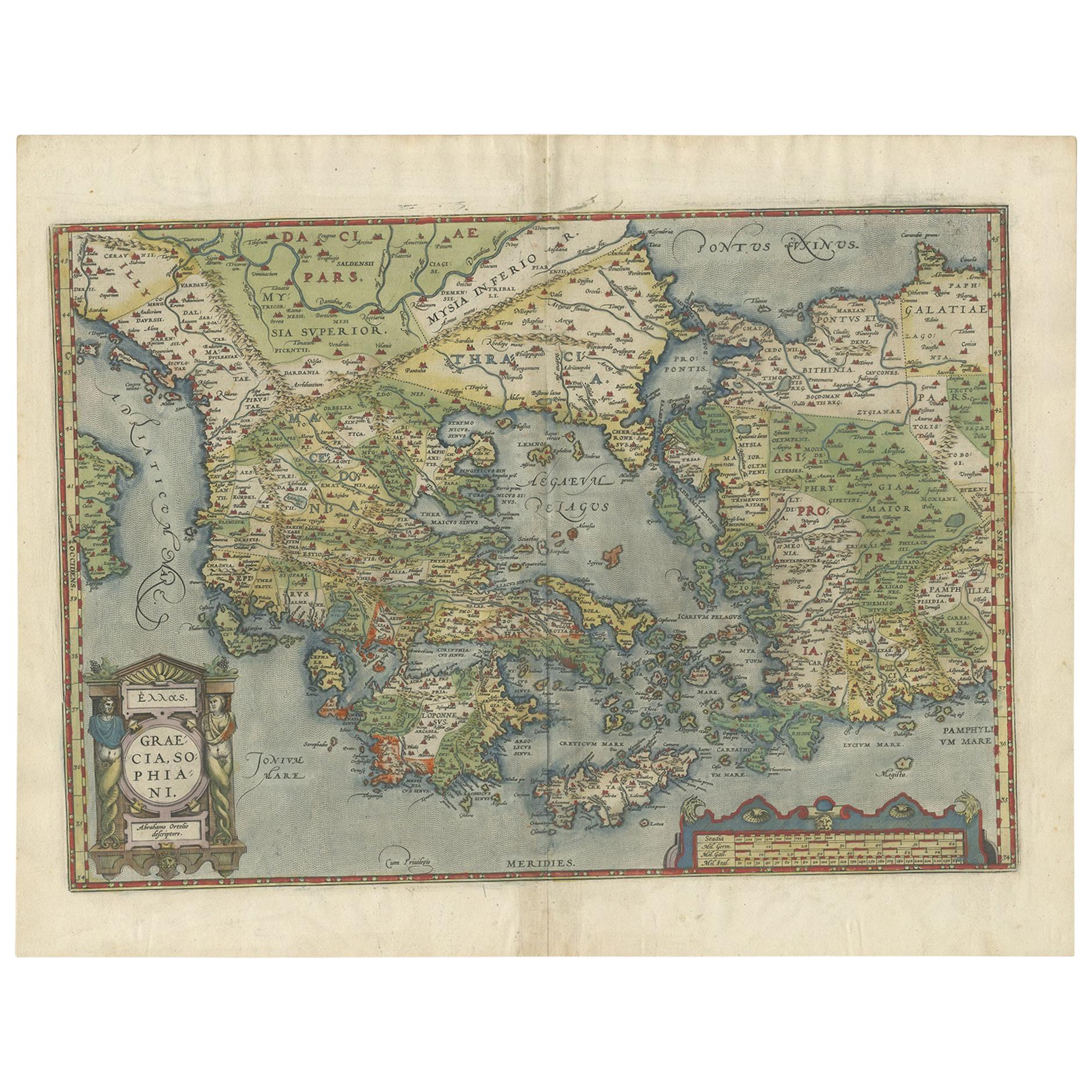 Antique Map of Greece by Ortelius, circa 1579