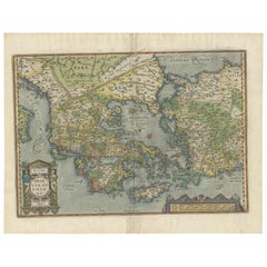 Antique Map of Greece by Ortelius, circa 1579