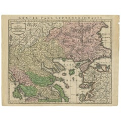 Antique Map of Greece by Seutter or Lotter, 'c.1740'