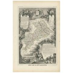 Antique Map of Haute-Garonne 'France' by V. Levasseur, 1854