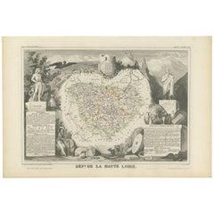 Antique Map of Haute Loire 'France' by V. Levasseur, 1854