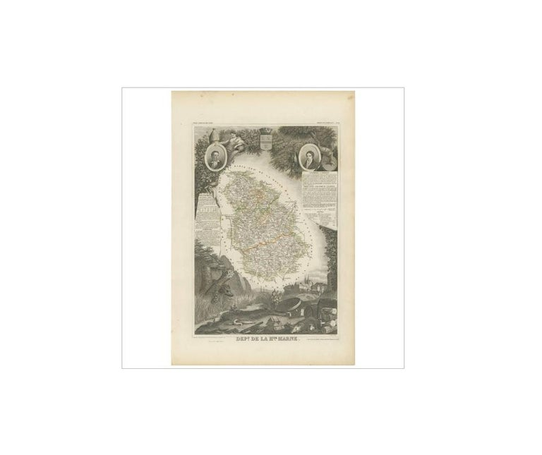 Antique map titled 'Dépt. de la Hte. Marne'. Map of the French department of Haute Marne, France. This department is part of the Champagne region, where the world-famous sparkling wine of the same name is produced. This area is known for a variety