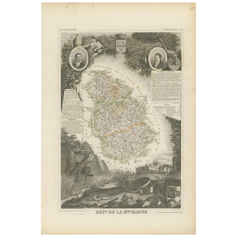 Antique Map of Haute Marne 'France' by V. Levasseur, 1854 For Sale
