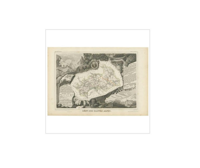 Antique map titled 'Dépt. des Hautes-Alpes'. Map of the French department of Hautes Alpes, France. This area of France is known for its production of Coteaux and Collines Rhodaniennes wines. The area is also famous for its chestnuts. The whole is