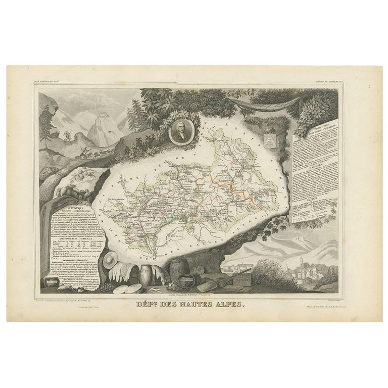 Antique Map of Hautes-Alpes 'France' by V. Levasseur, 1854 For Sale