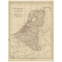 Antique Map of Holland and Belgium by Lowry, '1852'