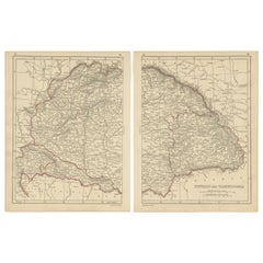 Antique Map of Hungary and Transylvania by Lowry, 1852