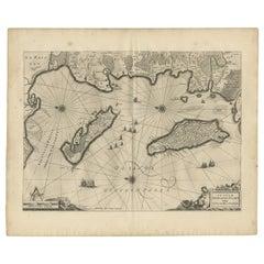 Antique Map of Île de Ré and Île d'Oléron by Janssonius, 1657