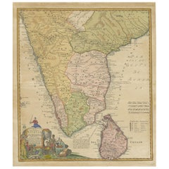 Antique Map of India and Ceylon by Homann Heirs '1733'