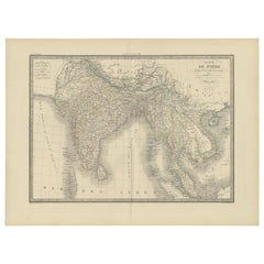 Antique Map of India and Ceylon by Lapie, 1842