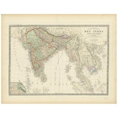 Antique Map of India and Ceylon by Levasseur '1875'