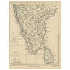 Antique Map of India and Ceylon by Lowry, '1852'