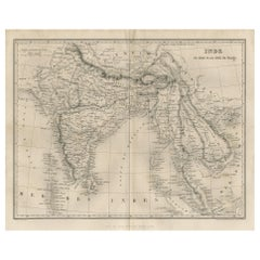 Antique Map of India and Southeast Asia by Balbi '1847'