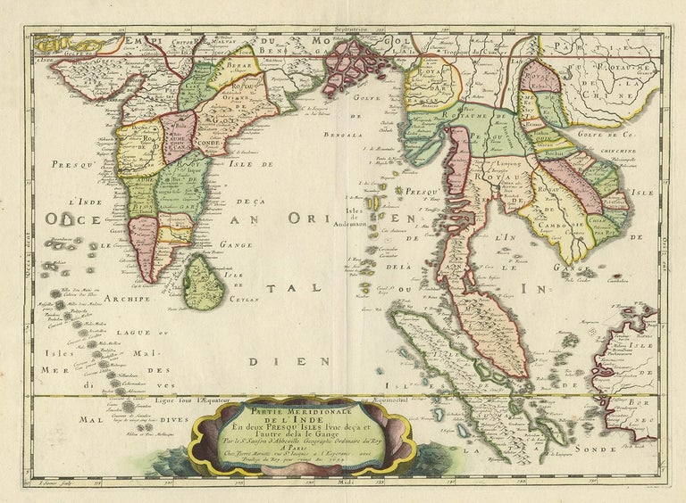 Antique map titled 'Partie Meridionale de l'Inde'. Early map of India and Southeast Asia. The map shows most of modern India, Bangladesh and Burma, the whole of Sri Lanka, Thailand, Malaysia, Laos, Cambodia, and Vietnam, and parts of Indonesia and