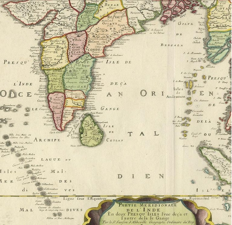 Antique Map of India and Southeast Asia by Sanson '1654' In Good Condition For Sale In Langweer, NL
