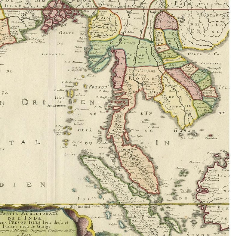 17th Century Antique Map of India and Southeast Asia by Sanson '1654' For Sale
