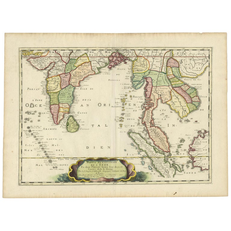 Antique Map of India and Southeast Asia by Sanson '1654' For Sale