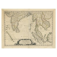 Antique Map of India and Southeast Asia by Sanson, '1654'