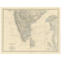 Antique Map of India by A.K. Johnston, 1865