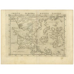 Antique Map of India by G. Ruscelli '1561'