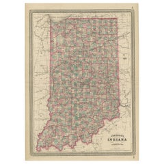 Antique Map of Indiana by Johnson, 1872