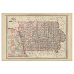 Antique Map of Iowa and Nebraska by Johnson, '1872'