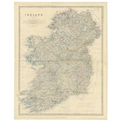 Antique Map of Ireland by A.K. Johnston, 1865