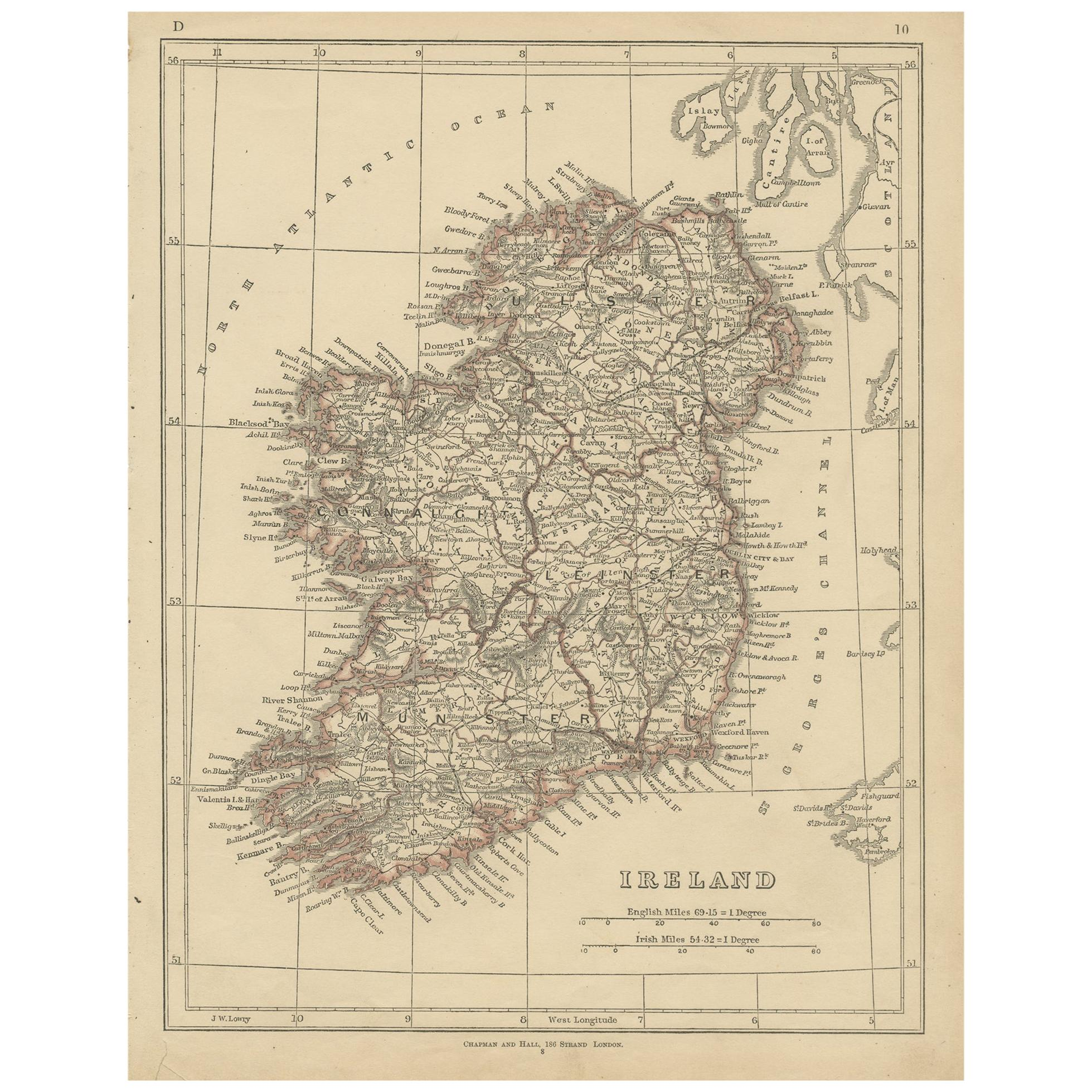 Antique Map of Ireland by Lowry, 1852