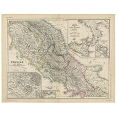 Antique Map of Italy and Greece by H. Kiepert, circa 1870