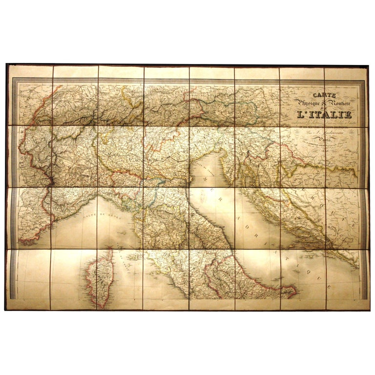 Antique Map of Italy by Andriveau-Goujon, 1843 For Sale