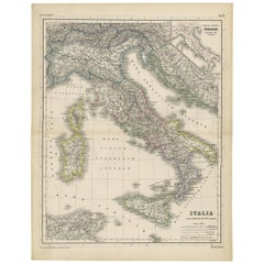 Antique Map of Italy by H. Kiepert, circa 1870