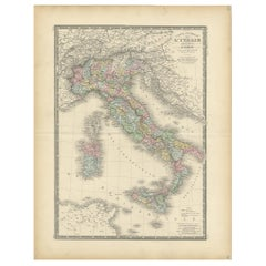 Antique Map of Italy by Levasseur, '1875'