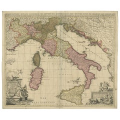 Antique Map of Italy by Schenk '1701'