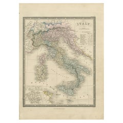 Antique Map of Italy by Wyld '1845'