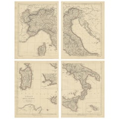 Antique Map of Italy, Sardinia and Corsica by Lowry, '1852'