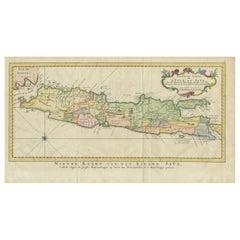 Antique Map of Java by Van Schley, circa 1770