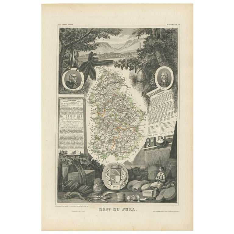 Map Of France Jura.Antique Map Of Jura France By V Levasseur 1854 For Sale At 1stdibs