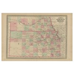 Antique Map of Kansas and Nebraska by Johnson, '1872'