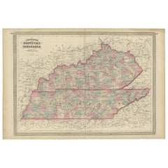 Antique Map of Kentucky and Tennessee by Johnson, 1872