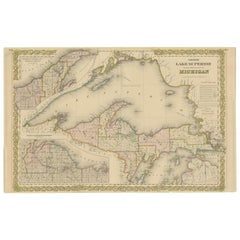Antique Map of Lake Superior and the Upper Peninsula of Michigan 'c.1870'