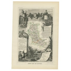 Antique Map of Loire 'France' by V. Levasseur, 1854