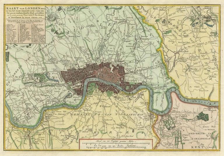 Antique map titled 'Kaart van Londen enz. en van het naby gelegen land ruim een Uur gaans rondsom dezelve Stad; getrokken uit de groote gemeeten Kaart van Hr. John Rocque'. In the second half of the 18th century, the introduction of turnpike roads